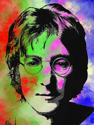 Strawberries Digital Art - John Lennon Pop Art Closeup by Daniel Hagerman