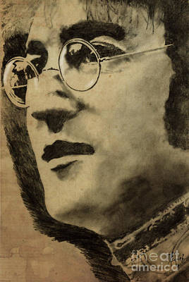 Music Royalty-Free and Rights-Managed Images - John Lennon Portrait by Drawspots Illustrations