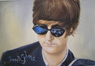 John Lennon-reflections Imagine Art Print by Anne Provost