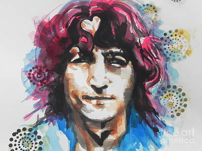 Music Paintings - John Lennon..Up Close by Chrisann Ellis
