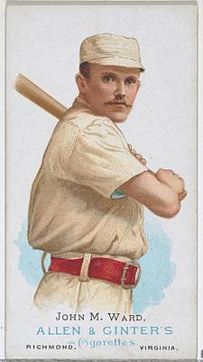 Baseball Cards Drawing - John M. Ward, Baseball Player by Allen & Ginter
