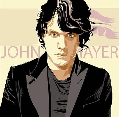 John Mayer Painting - John Mayer Portrait by Garth Glazier