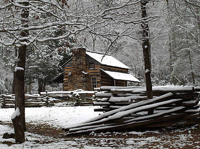 Split Rail Fence Photograph - John Oliver Cabin In The Snow by Terena Boone