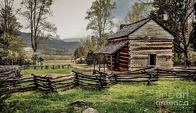 Art Print featuring the photograph John Oliver's Cabin In Spring. by Debbie Green