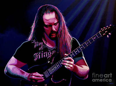 Mike Painting - John Petrucci Painting by Paul Meijering