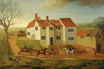 John Sidey And His Hounds At A Farmhouse Near Hadleigh Print by Litz Collection