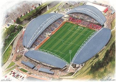 Sports Paintings - John Smiths Stadium - Huddersfield Town by Kevin Fletcher