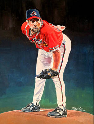 Autographed Painting - John Smoltz - Atlanta Braves by Michael  Pattison