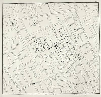 John Snow's Cholera Map Print by British Library