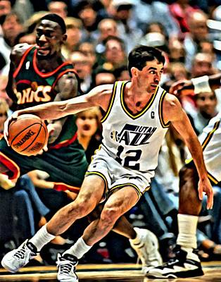 Utah Jazz Painting - John Stockton by Florian Rodarte