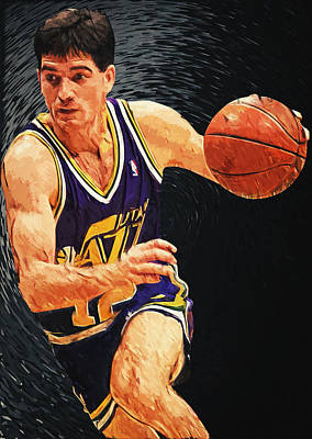 Portrait Digital Art - John Stockton by Taylan Apukovska