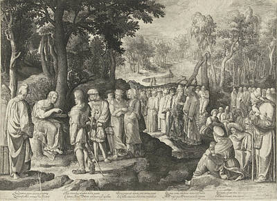Baptist Drawing - John The Baptist Preaches To The Crowd, Nicolaes De Bruyn by Nicolaes De Bruyn