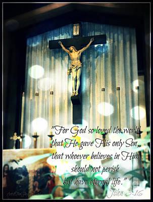 Religious Jesus On Cross Photograph - John316 - Easter Crucifix by Sharon Soberon