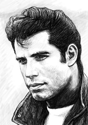 Abstract Pop Drawing - John Travolta Art Drawing Sketch Portrait by Kim Wang