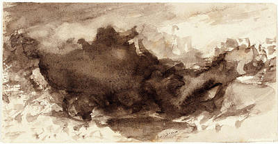 Wash Drawing - John Varley, British 1778-1842, Valley Landscape by Litz Collection