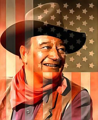 White And Blue Mixed Media - John Wayne American Cowboy by Dan Sproul