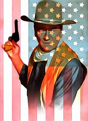 White And Blue Mixed Media - John Wayne American Icon by Dan Sproul
