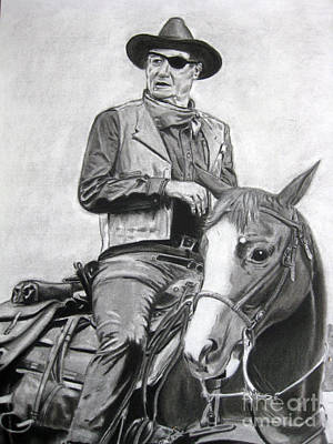 John Wayne Drawings Drawing - John Wayne by April Johnson