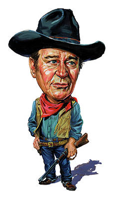 Caricature Painting - John Wayne by Art