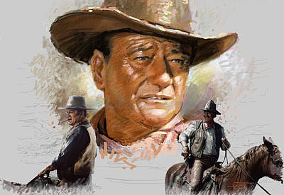 Duke Mixed Media - John Wayne by Viola El
