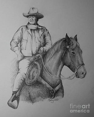 John Wayne Drawings Drawing - John Wayne by Catherine Howley