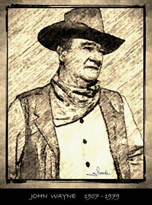 Actor Drawing - John Wayne by George Rossidis