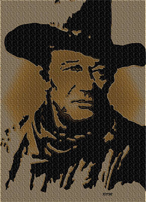 John Wayne Drawings Drawing - John Wayne Lives by Robert Margetts