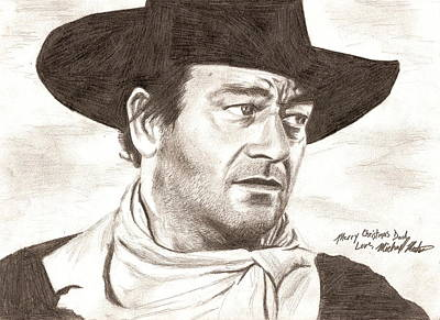 Drawing - John Wayne by Michael Mestas