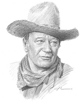 Drawing - John Wayne Pencil Portrait by Mike Theuer
