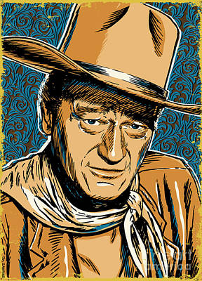 Texas Digital Art - John Wayne Pop Art by Jim Zahniser