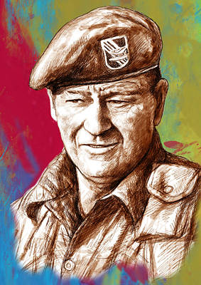 John Wayne Drawings Drawing - John Wayne Stylised Pop Art Drawing Potrait Poser by Kim Wang