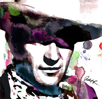 John Wayne Water Color Pop Art By Robert R Art Print by Robert R Splashy Art Abstract Paintings