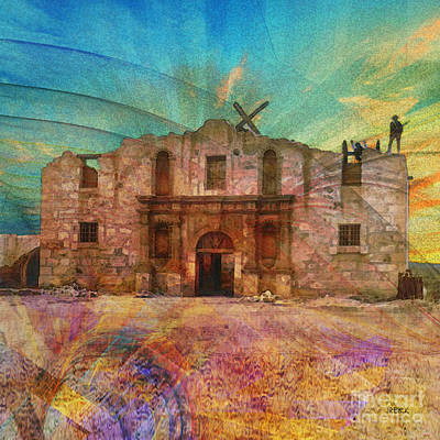 Digital Art - John Wayne's Alamo - Square Version by John Beck