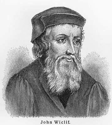 Old People Sketches Drawing - John Wycliffe by Oprea Nicolae