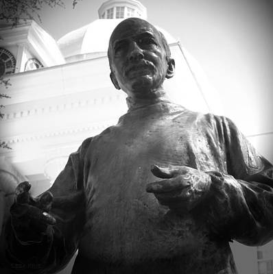 Photograph - John Wyeth Statue State Capitol Bw by Lesa Fine