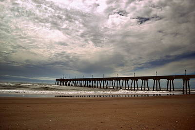 Beach Photograph - Johnnie Mercer Pier Storm Reflections by Amy Lucid