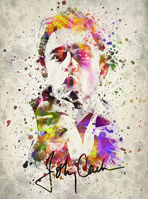 Brothers Digital Art - Johnny Cash  by Aged Pixel