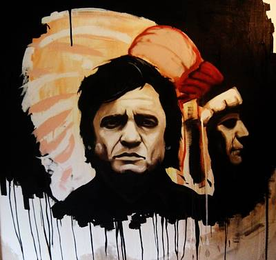 Painting - Johnny Cash And Indian by Matt Burke