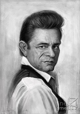 Actors Drawing - Johnny Cash by Andre Koekemoer