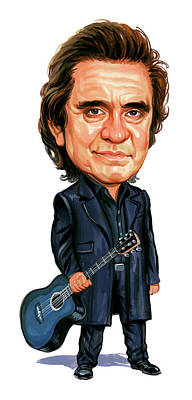 Caricature Painting - Johnny Cash by Art