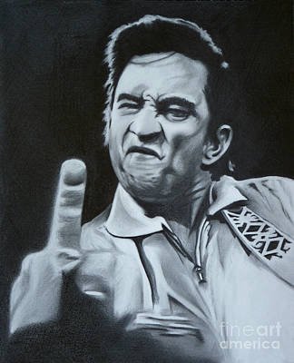 Johnny Cash Drawing - Johnny Cash Finger Gesture Graphite Pencil Drawing by N Faulkner