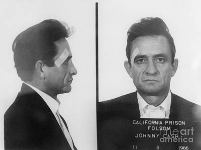 Portrait Mixed Media - Johnny Cash Folsom Prison Wall Art by David Millenheft