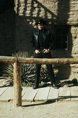 Art Print featuring the photograph Johnny Cash Gunfighter Hitching Post Old Tucson Arizona 1971 by David Lee Guss