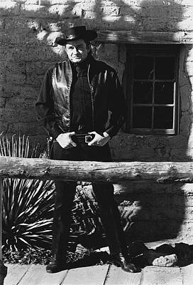 Art Print featuring the photograph Johnny Cash Gunslinger Hitching Post Old Tucson Arizona 1971  by David Lee Guss