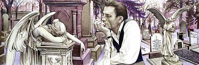 Johnny Cash Drawing - Johnny Cash-hurt by Joshua Morton