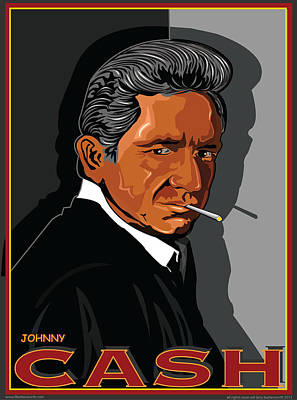 Loretta Lynn Digital Art - Johnny Cash by Larry Butterworth