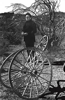 Art Print featuring the photograph Johnny Cash  Meditating Wagon Wheel Graveyard Old Tucson Arizona 1971 by David Lee Guss
