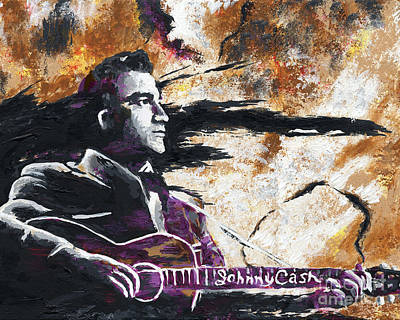 Johnny Cash Original Painting Print Original by Ryan Rock Artist