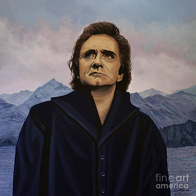 Black Gospel Painting - Johnny Cash Painting by Paul Meijering