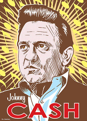 Highwaymen Digital Art - Johnny Cash Pop Art by Jim Zahniser